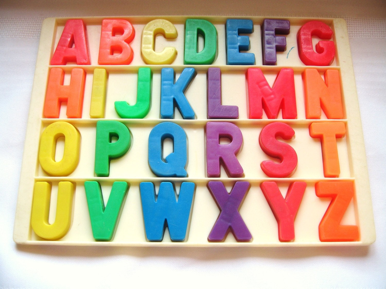 Vintage Fisher Price Alphabet Magnets With Tray By