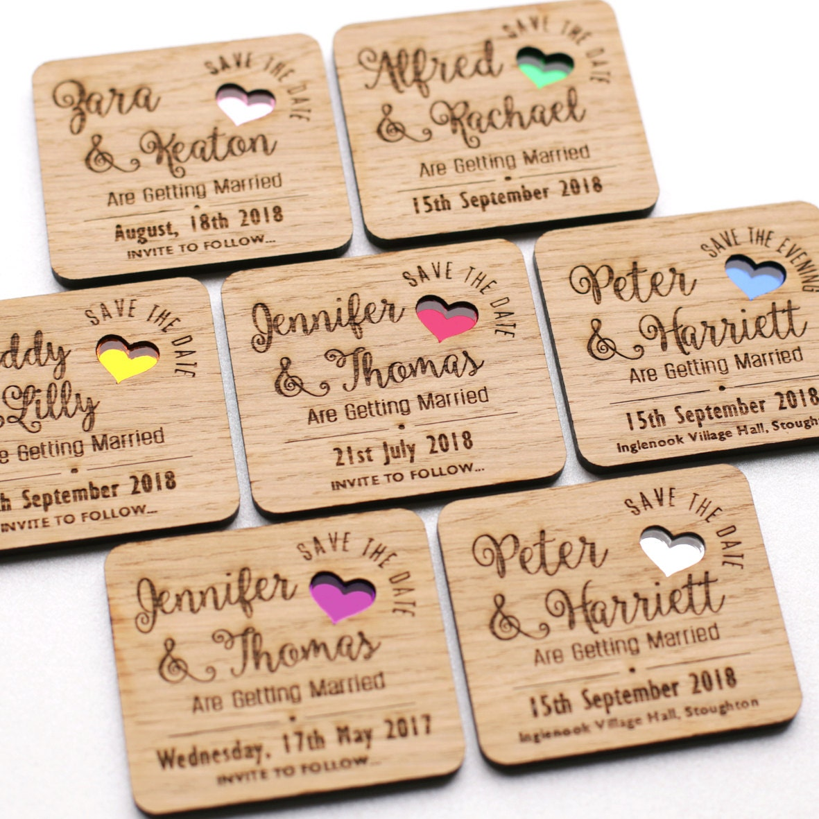 Save the date magnet wooden save the dates wooden wedding magnets coloured hearts
