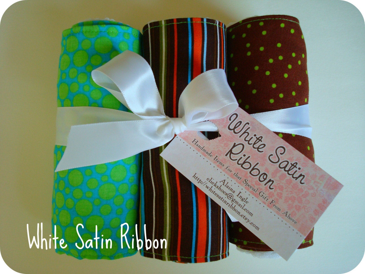 Stripes and Dots- blue, lime brown- Baby Burpies Set of 3