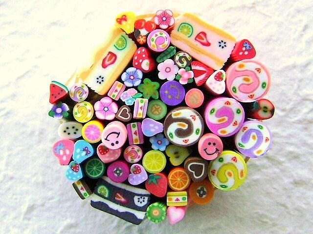 Polymer Clay Cane Sticks - Fruit  Cakes Hearts  Flowers Super Set 60 Set