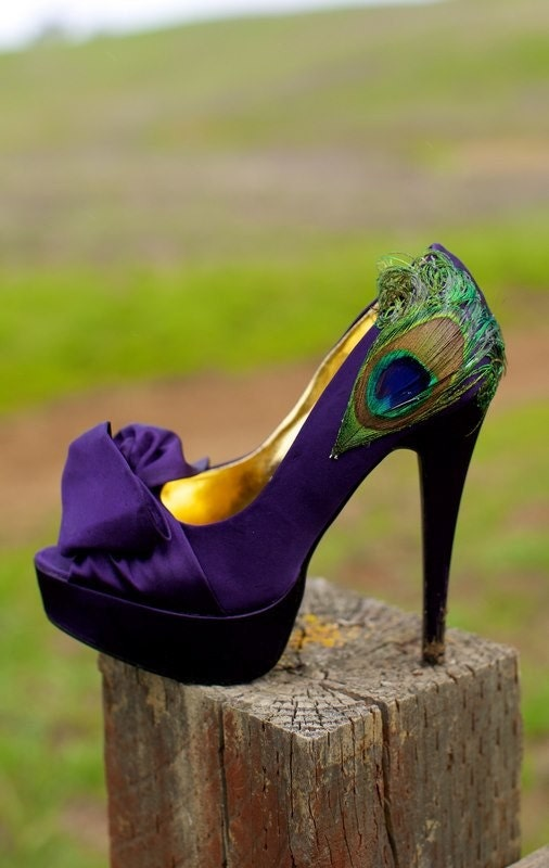 Purple Satin Peacock Pumps .. Size 7 1/2