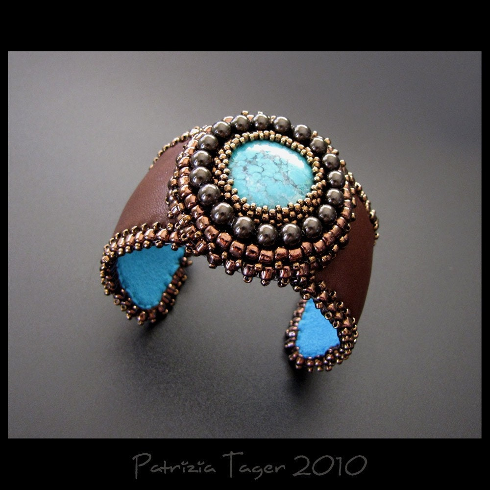 Brown and Turquoise Cuff