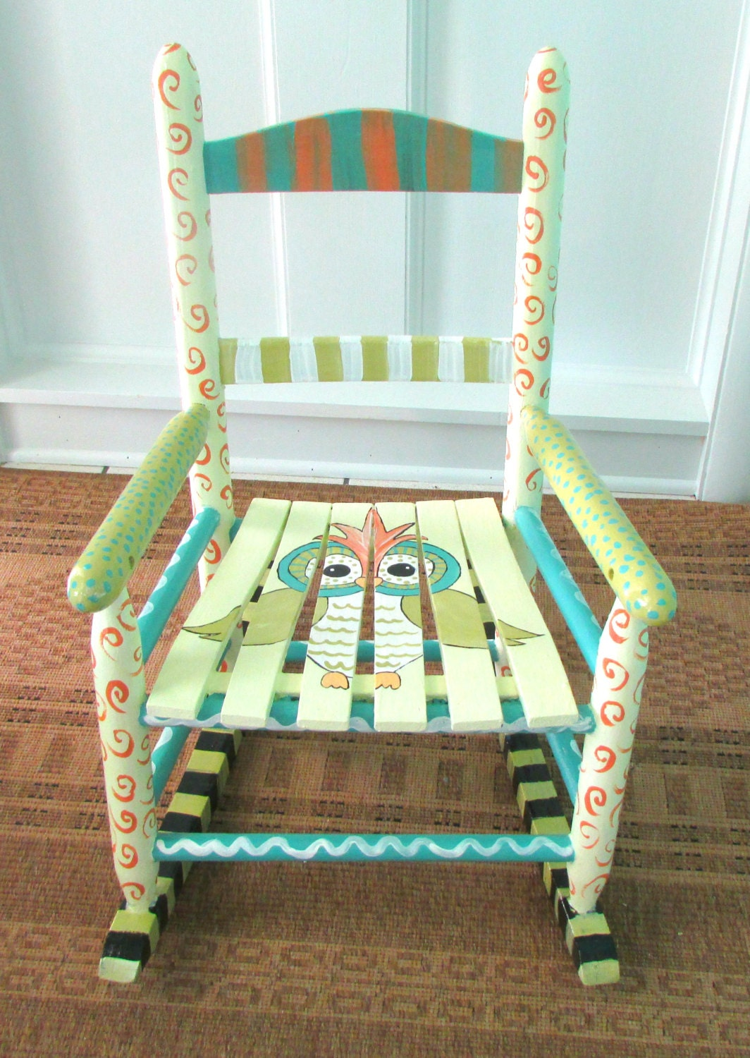 Child s hand painted rocking chair - Hand Painted Child Rocking Chair Custom Painted Owl By