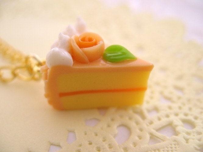 Orange Cake Slice Necklace