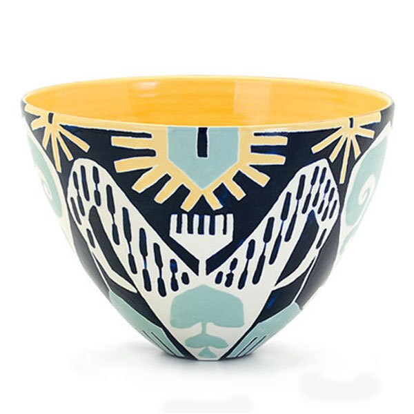 Medium Bee Bowl in Ikat Print Rain Colorway