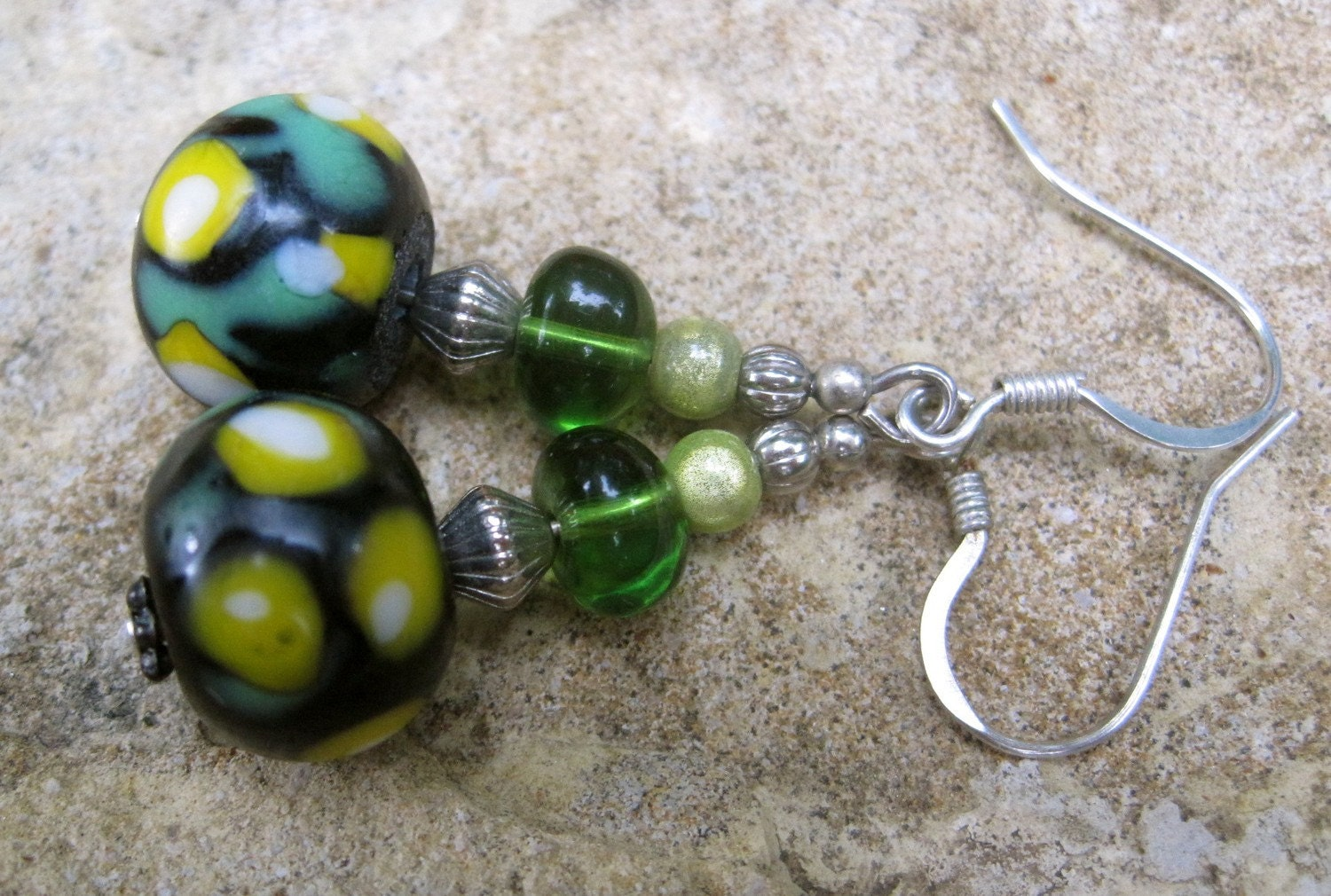 Forest Green-Gold Earrings -- Dew and Grass, Rain and Glass -- Our Summer SALE Benefits Sierra Club's Efforts in the Gulf