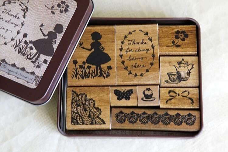 Margaret Stamp Set - Girl,Lace,Tea,Butterfly - Vintage Style