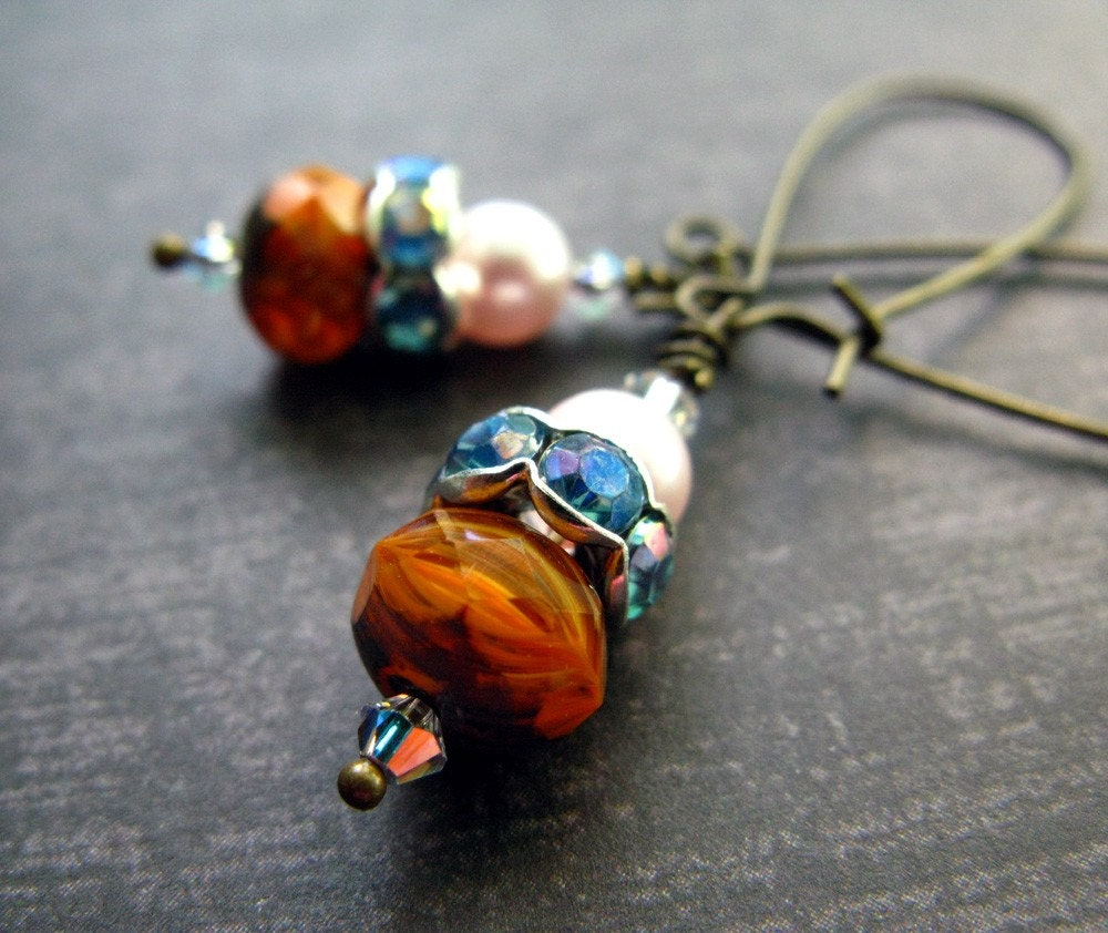 Mini Pumpkins - In Blue - Long Earrings