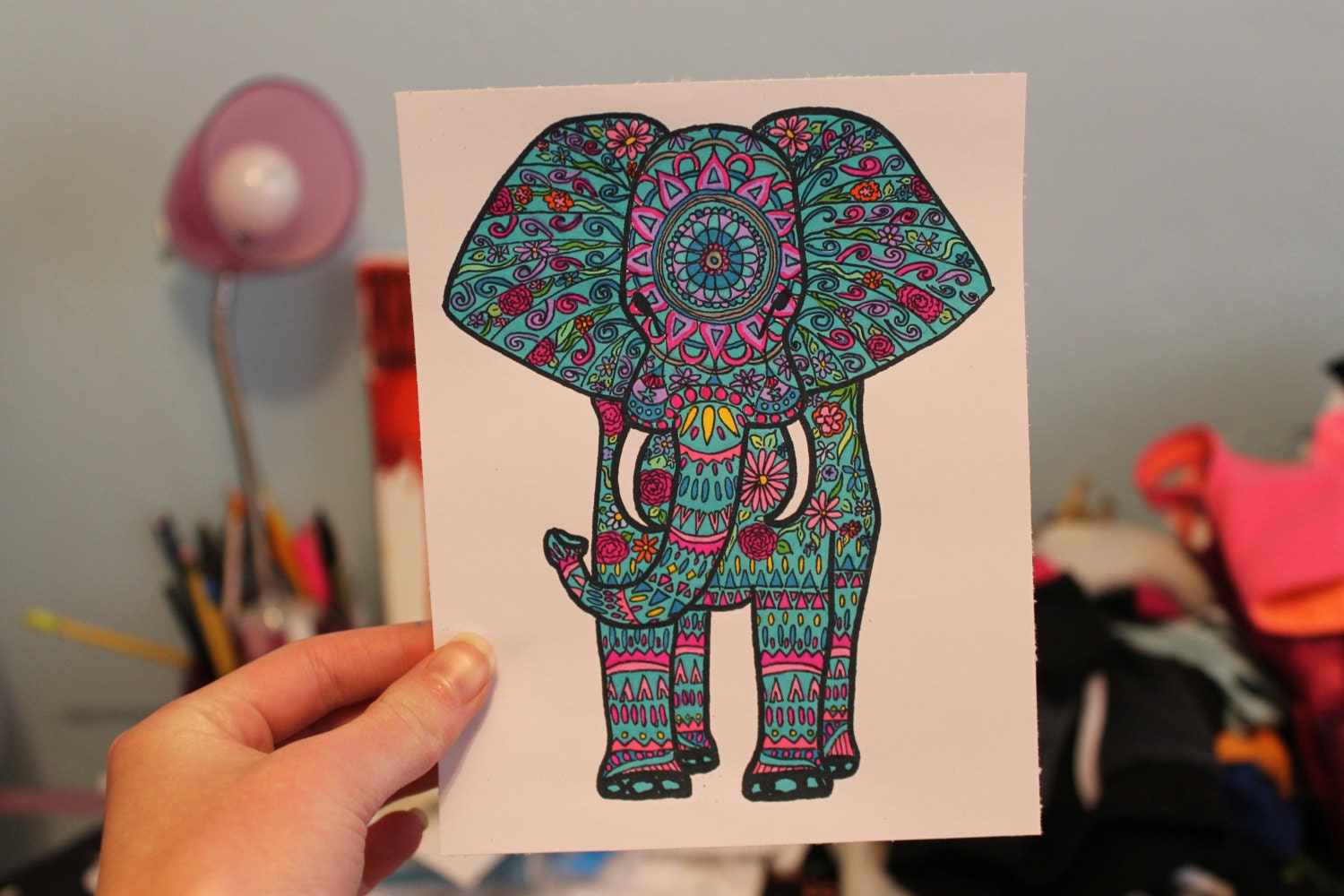 Elephant Drawing Color Colorful Elephant Drawing