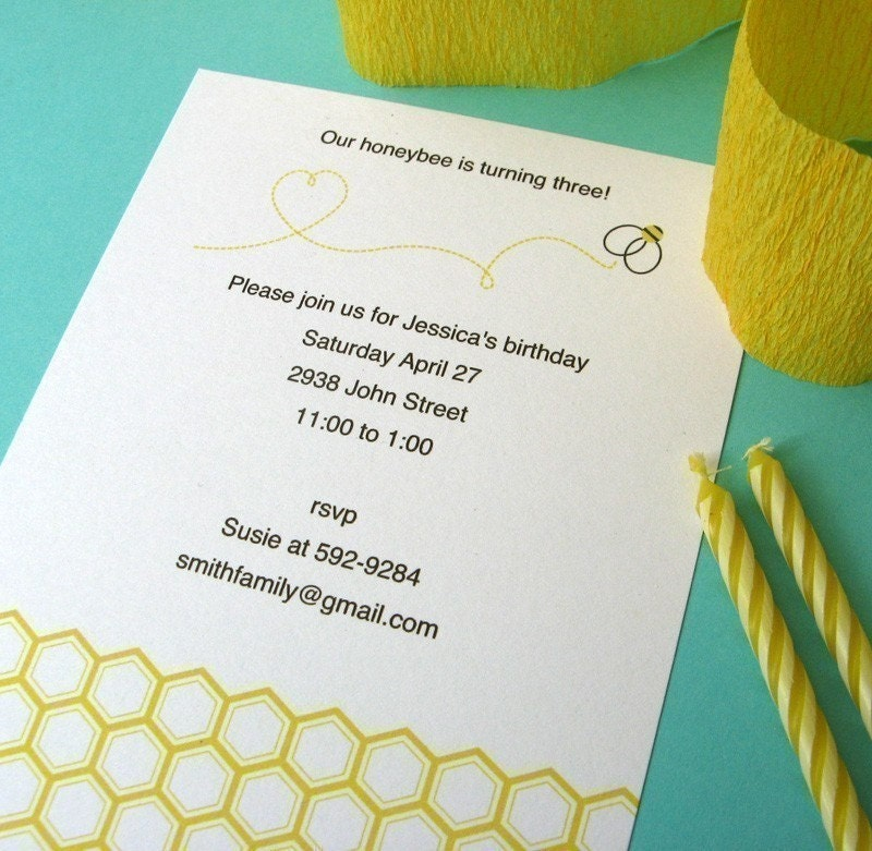 Printable Bee Baby Shower or Birthday Invitations