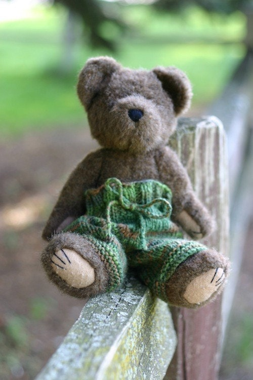knitting pattern toy bear wool