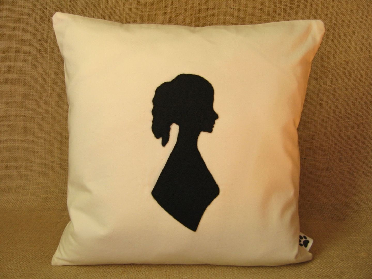 Emily Bronte Silhouette Pillow Cover