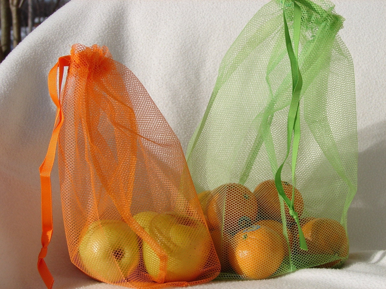 Reusable produce bags, veggie bag for Farmer's Market, set of 3 - ElleJayStudios