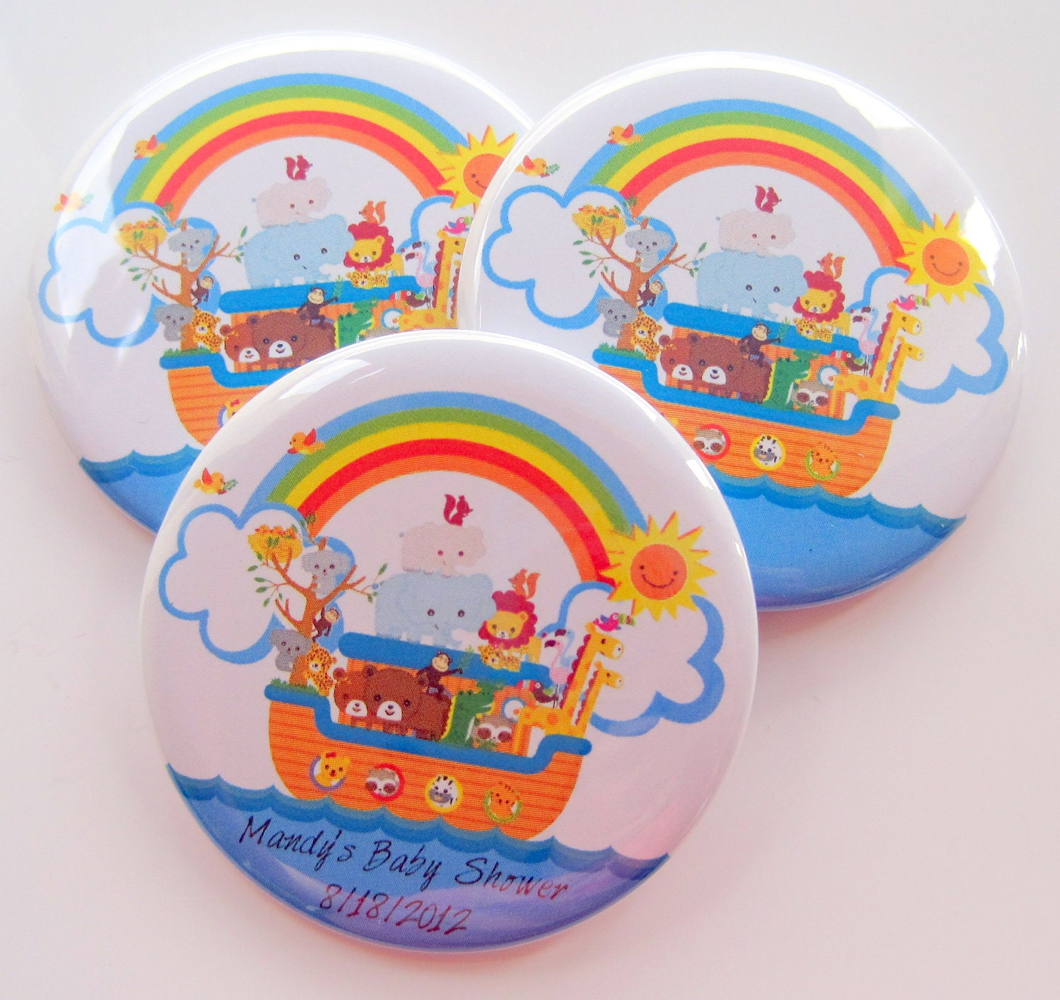 noah 39 s ark baby shower favors personalized inch button magnets