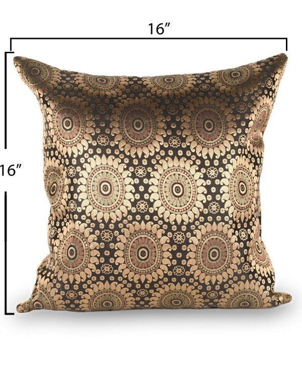 Black brocade cushion cover, 16x16 Inches.