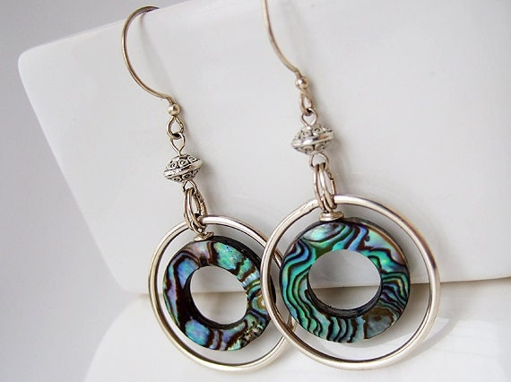 Abalone Earrings, Abalone Shell Earrings, Silver Hoops