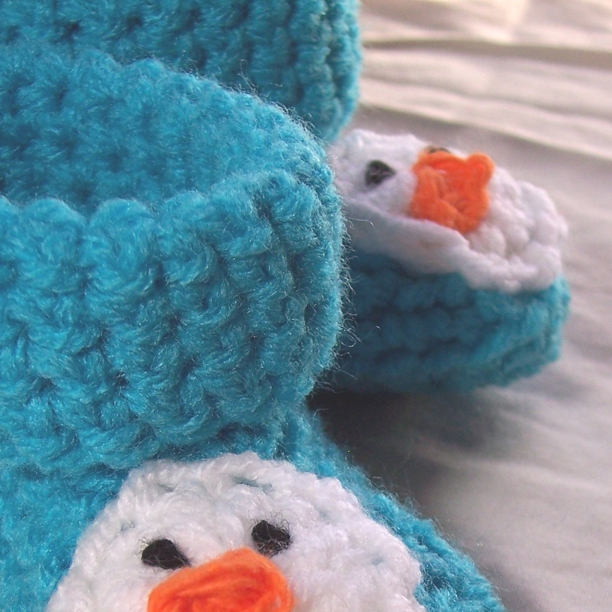 Turquoise Little Snowman Crocheted Cuff Boots - Size 3 - 6 months