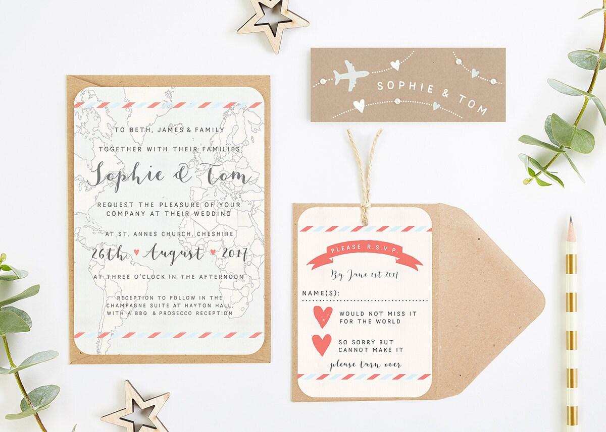 Travel Collection  Map  Kraft Wedding Invitation Bundle
