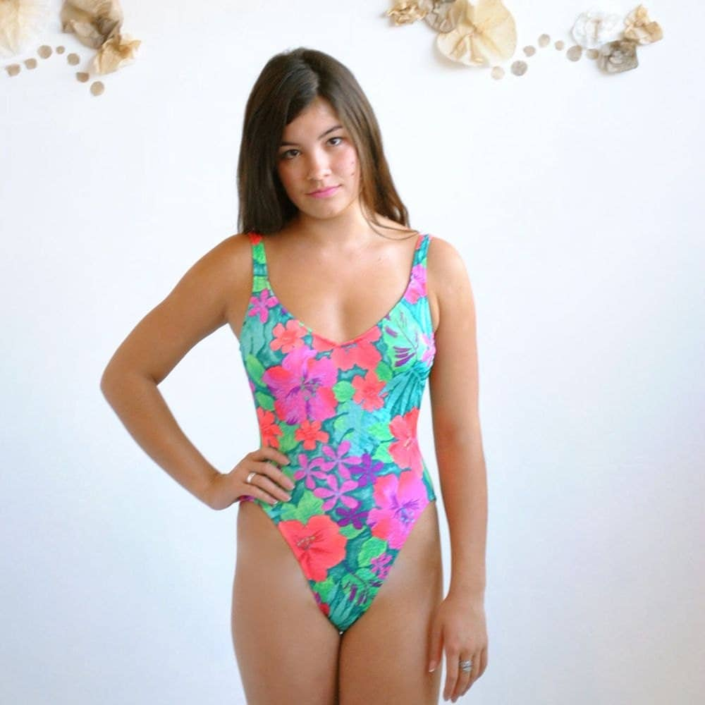 High Cut Swimsuit One Piece Swimsuit By Vintageurbanrenewal