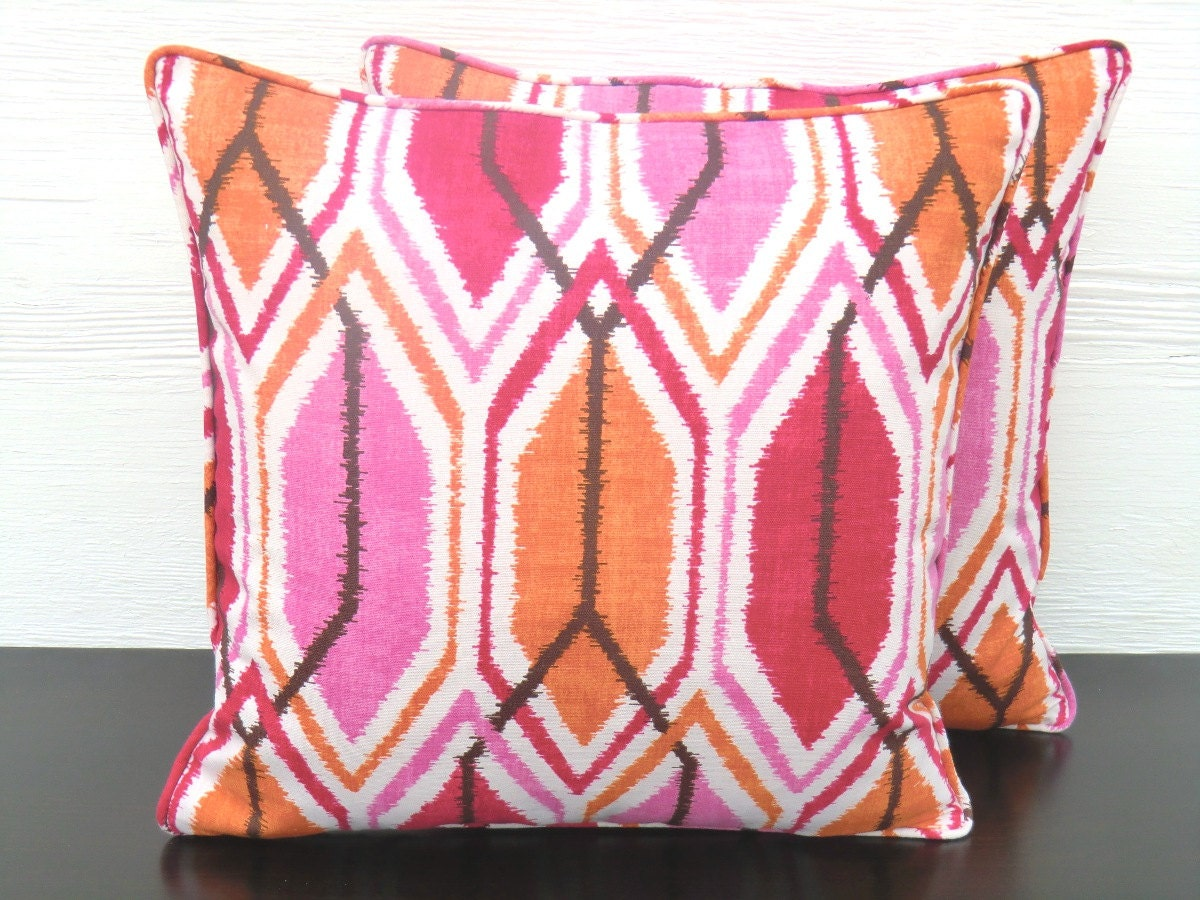 Hot Pink And Orange Throw Pillows : Hot pink throw pillow cover orange and pink pillow by anitascasa