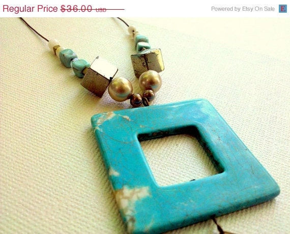 ON SALE Geometric In the Sky Square, Pyrite and Mixed Bead Necklace