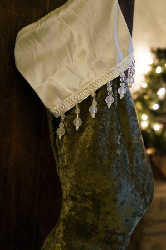 Velvet Christmas Stocking with Silk and Beaded Trim
