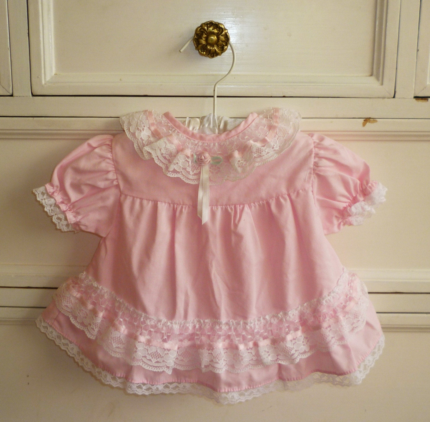 Vintage Pink Frilly Shirt, 6-9 Months