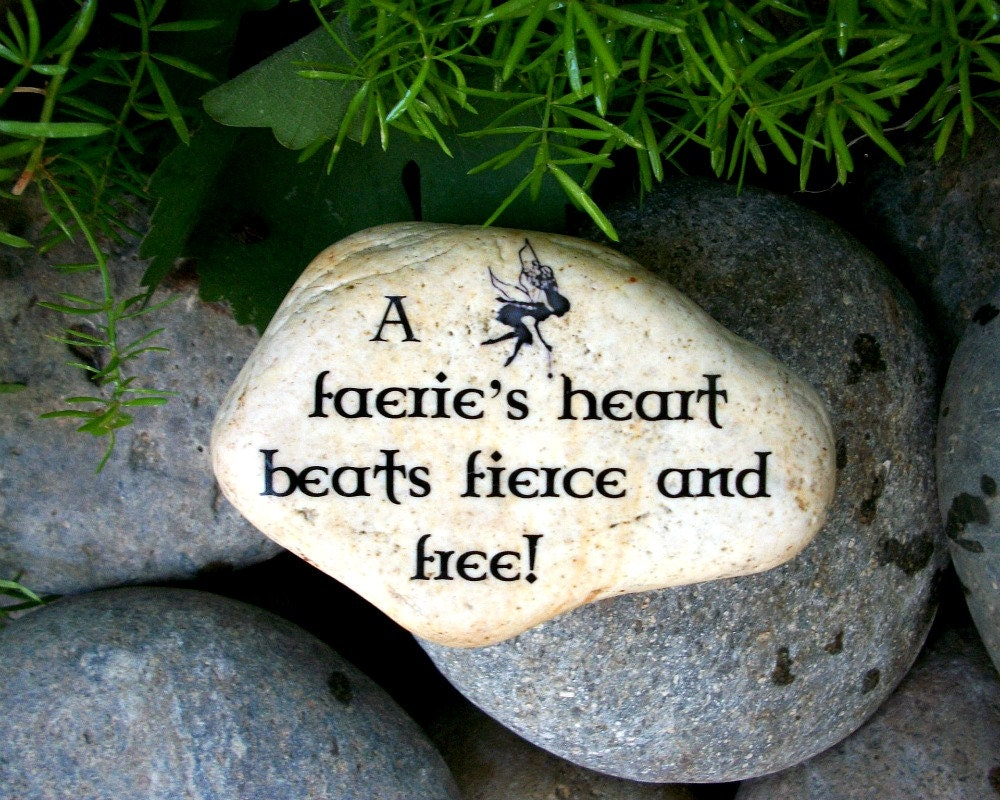 Items similar to fairy faerie garden stone fairy folklore for Garden stones with sayings