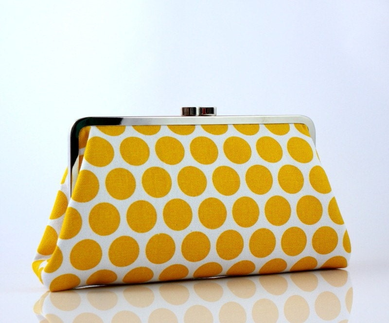 Yellow Polka Dots - 8 inches Large Silver Frame Clutch