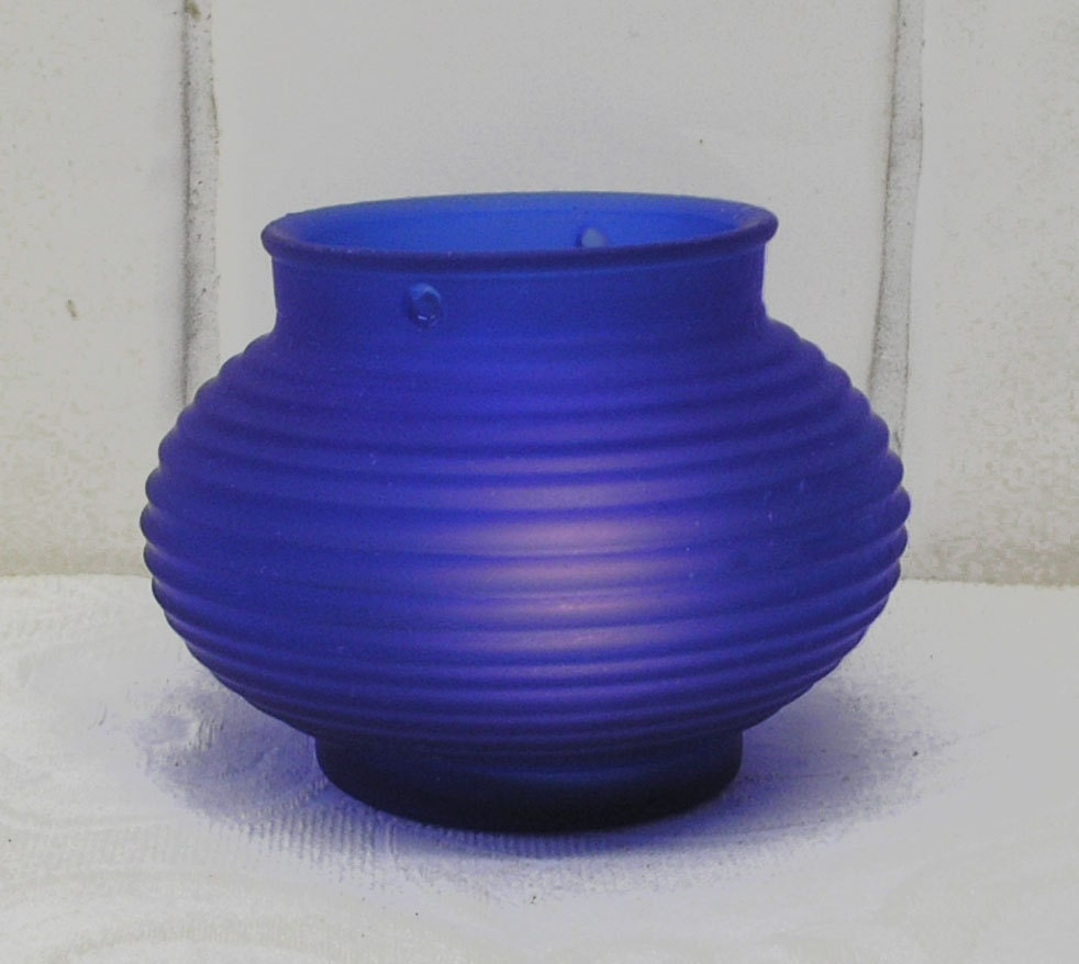 Cobalt blue glass Chinese lantern tea light candle holder  replacement shade. Notches for hanging wire. Bedroom bathroom dining table SALE