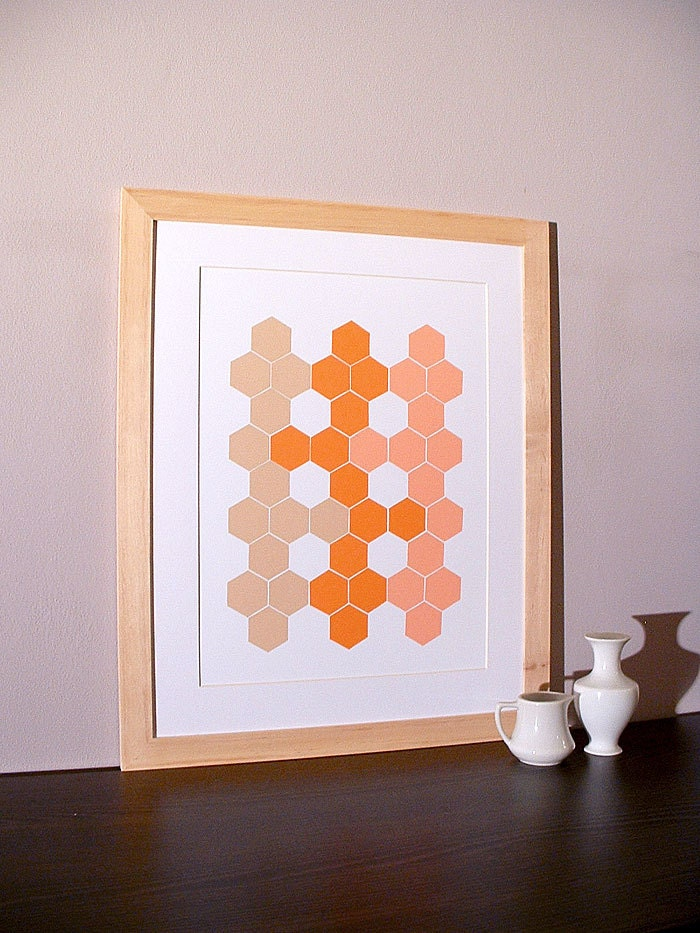 handmade not a print original modern patterns spring home decor artwork hexagon honeycomb geometric collage mid century mosaic - StudioSuzanna