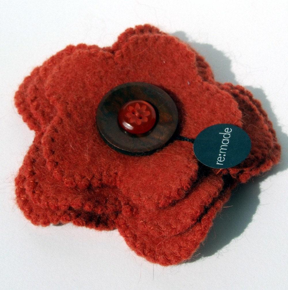 recycled felt triple flower brooch in burnt orange - FREE SHIPPING