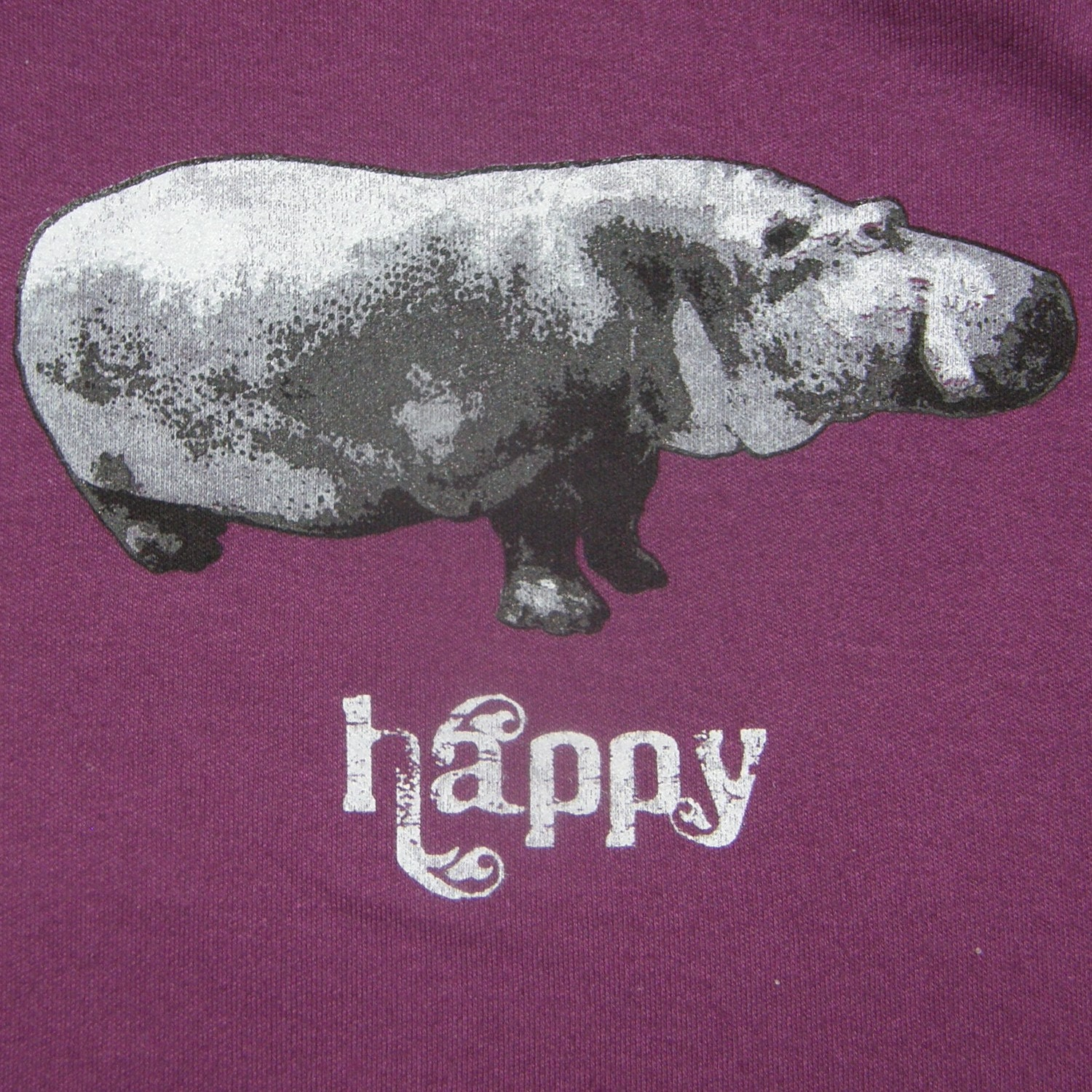 Happy Hippo on Ocean Blue Onesie