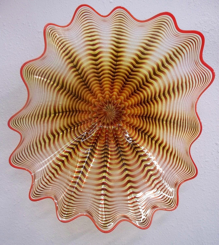 Beautiful Hand Blown Glass Art Wall Platter Spiral Wrap 1925