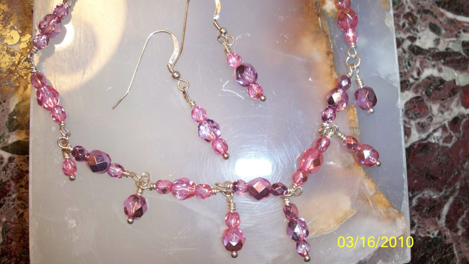 17 Inch Sterling Silver and Bright Pink and Purple Cut Glass Necklace and Earring Set