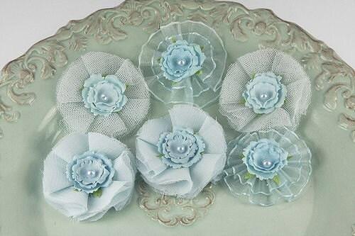 Бронте водорослей Powder Blue: Sheer сетчатая ткань цветов (6 шт)
