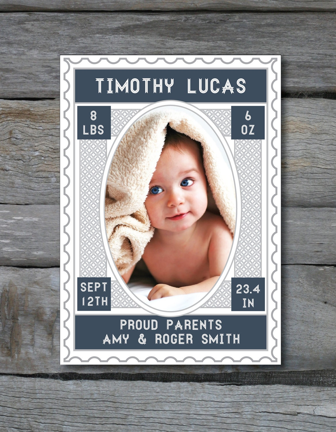 Vintage Stamp Inspired Birth Announcement PHOTO CARD in Pink Blue Coral and Navy - Digital File