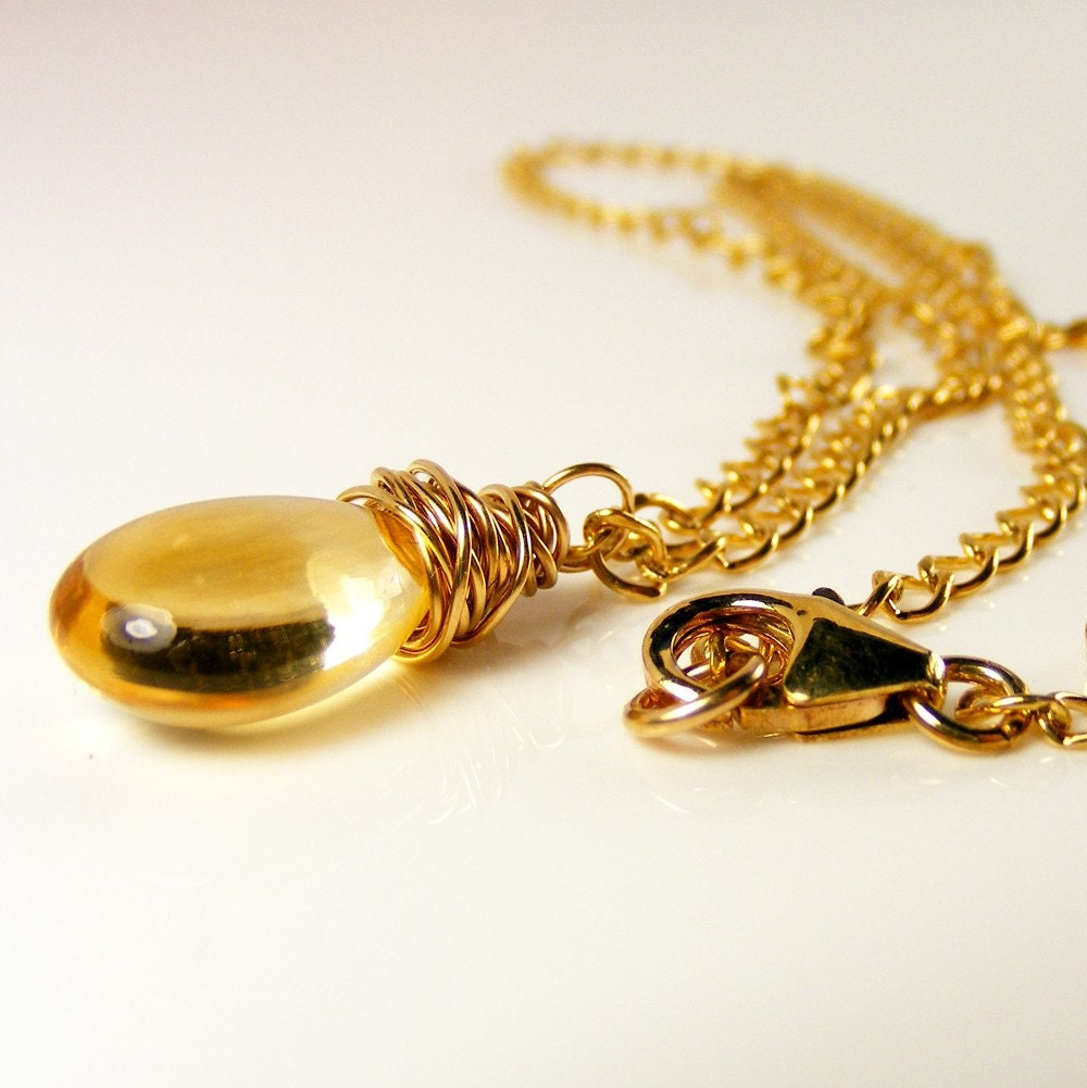 Citrine OOAK Teardrop Pendant Necklace Gold by ErikaPriceOriginals from etsy.com