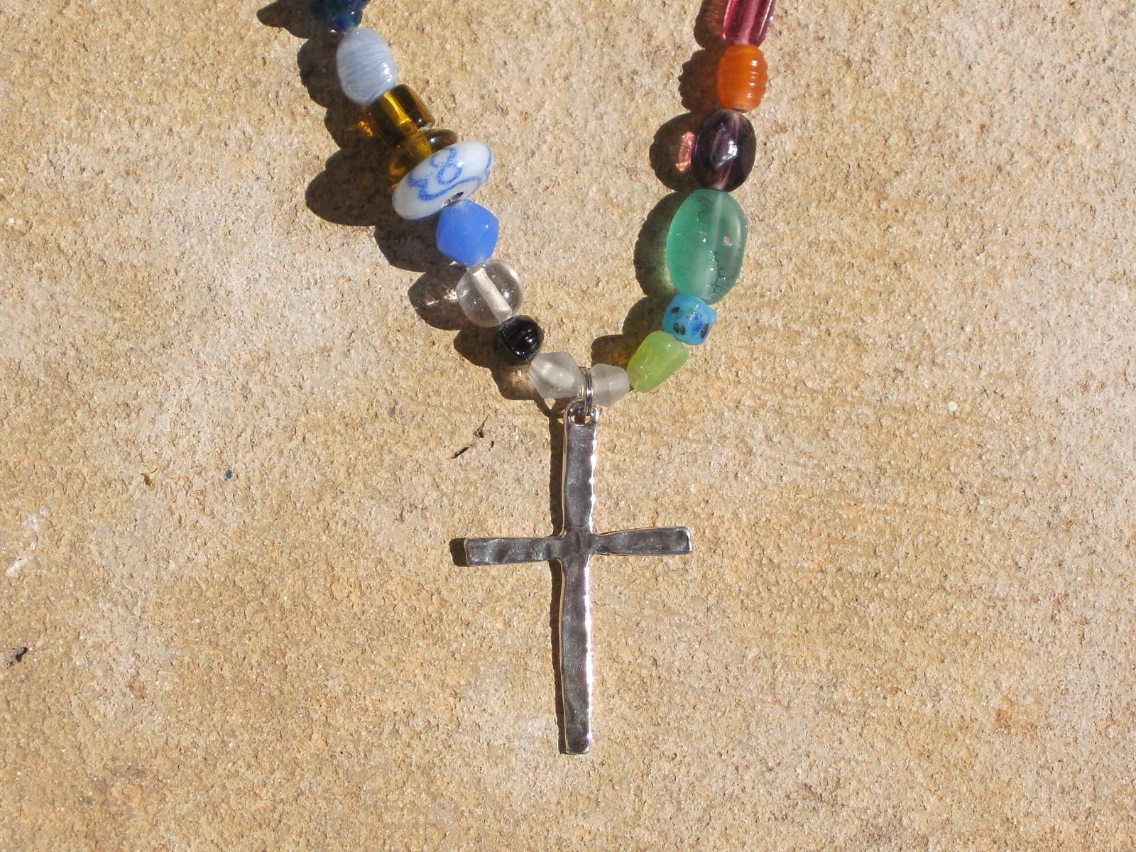 Tall Slender Sterling Silver Cross and Glass