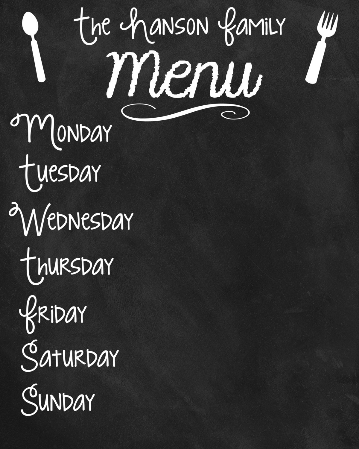 Custom Printable Family Menu Board Poster