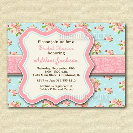 shabby chic pink and blue baby shower invite printable invitation