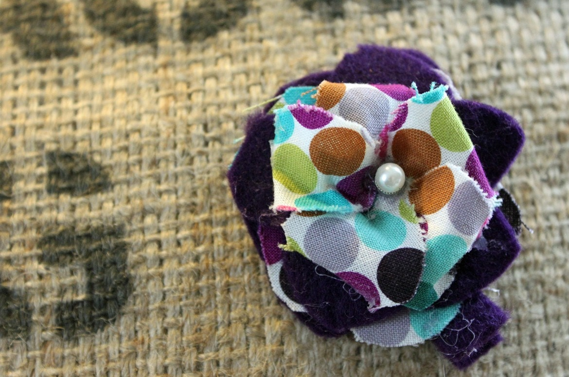 Felt and Fabric Flower Hair Clip