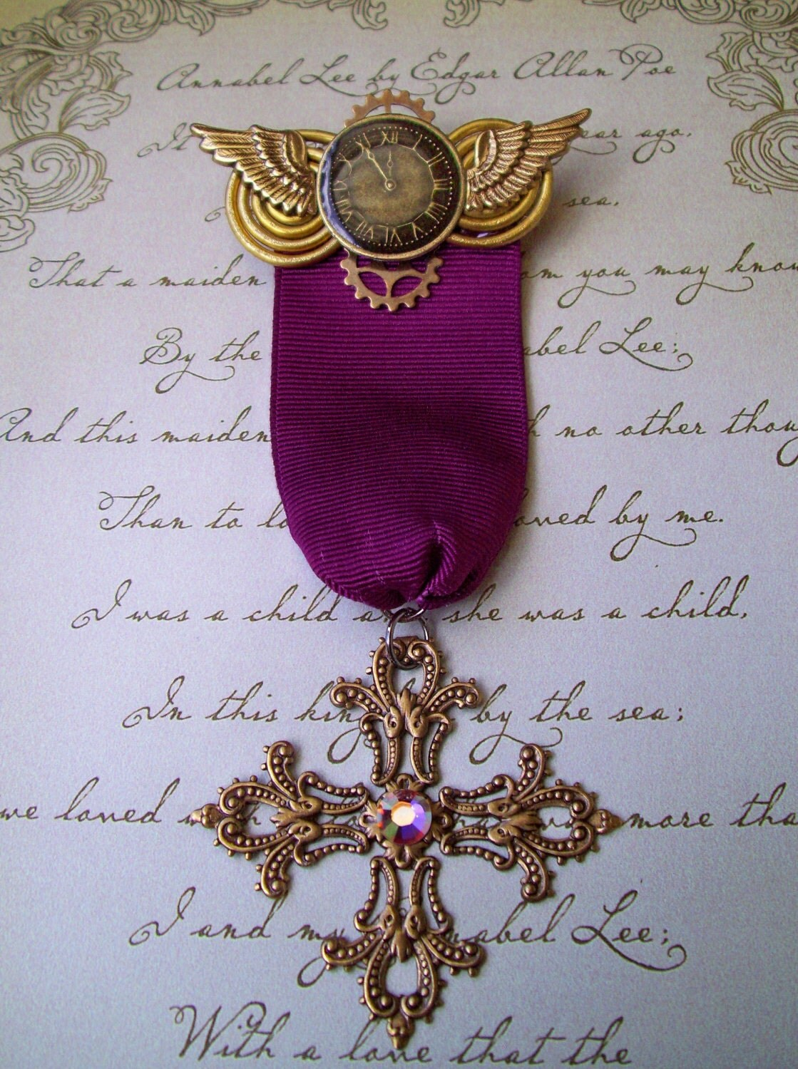 Steampunk Military Style Medal (M10) - Burgundy Ribbon with Brass Filigree Cross - Aviation Inspired Design - Swarovski Crystals