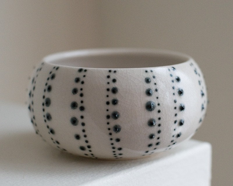 RESERVED Black Spotted Urchin with White Interior, Medium, Porcelain