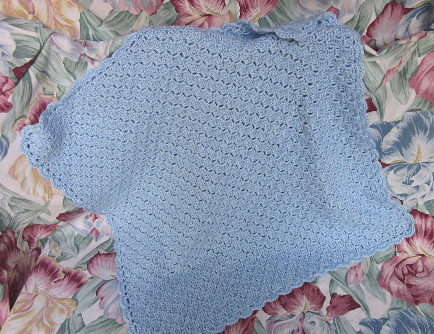 Items similar to Crocheted Blue Basketweave Pattern Baby ...