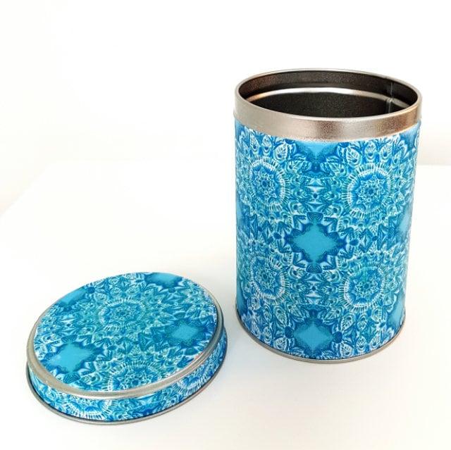 Small blue storage tin pattern tin decorative tin kitchen storage small items storage tin