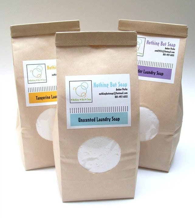 Laundry Soap--Truly All Natural, No Artificial Fragrance, Handmade, Vegan, 50-100 loads. Two Pounds of Laundry Soap.