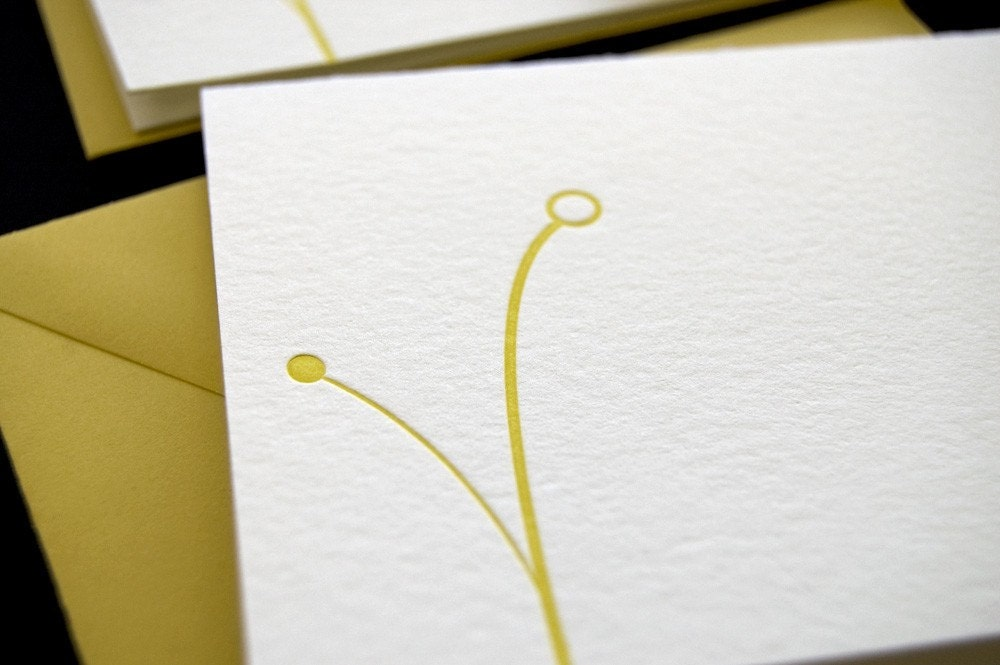 Yellow berries, letterpress card SET