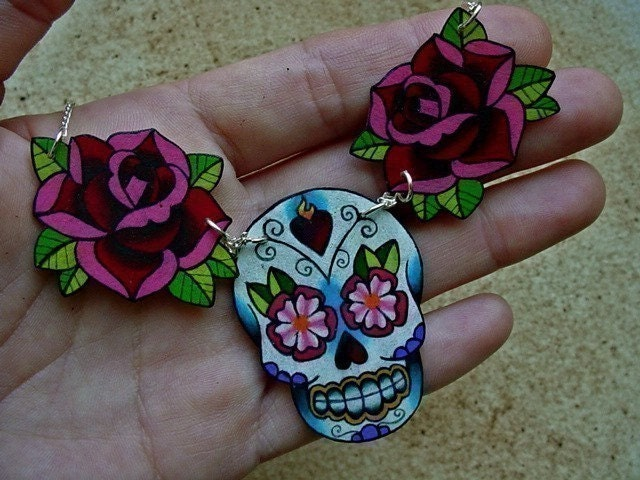 sugar skull and rose tattoo necklace day of the dead (dia de los muertos