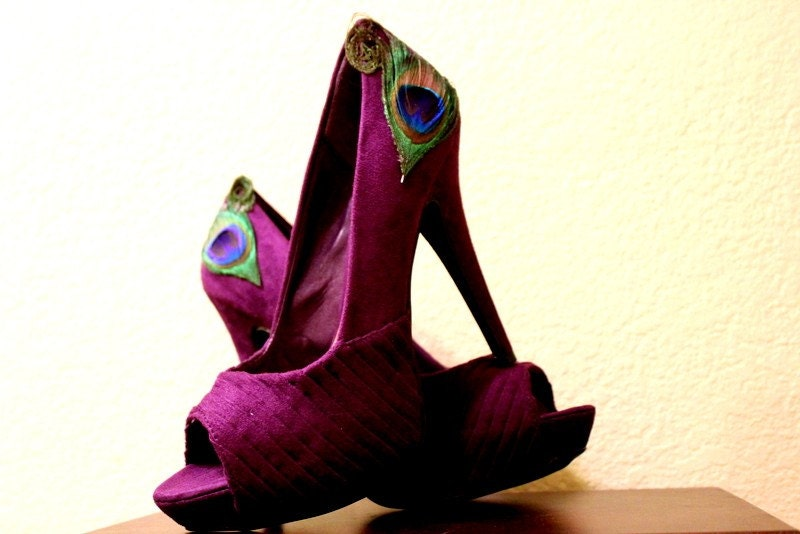 Purple Peacock Pleated Peep Toe Pumps Size 8.5